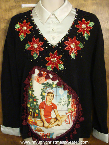 Amazing Bling Hottie Guy Ugly Christmas Sweater with Poinsettias