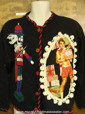 Hottie Guy Ugly Christmas Sweater with Nutcracker