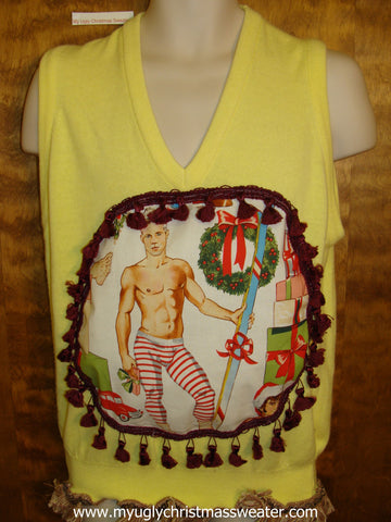 Bright Yellow Hottie Guy Mens Ugly Christmas Sweater Vest