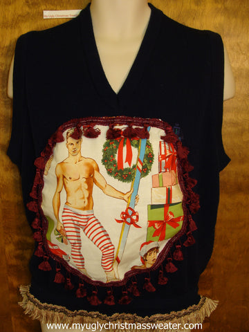 Hottie Guy Mens Ugly Christmas Sweater Vest