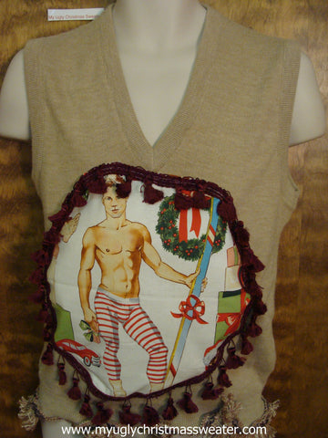 Hottie Guy Tan Mens Ugly Christmas Sweater Vest