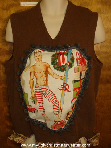 Hottie Guy Mens Ugly Christmas Sweater Vest Candy Cane Long Johns