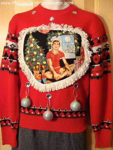 Hottie Guy Tacky Ugly Christmas Mens Sweater Dangling Fringe & 3D Ornaments (b8)