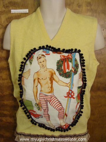 3d Puffy Hottie Guy Mens Ugly Christmas Sweater Yellow Vest