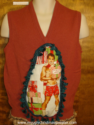 Hottie Guy Sexy Ugly Christmas Sweater Vest