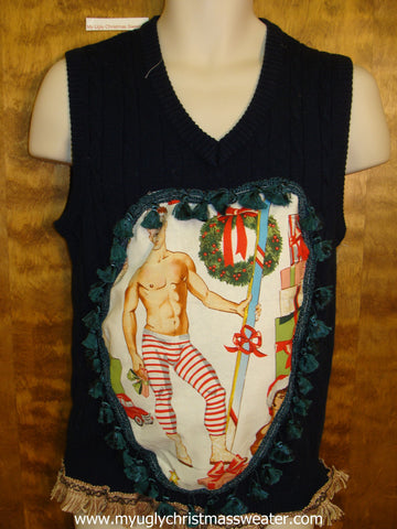 Hottie Guy Mens Ugly Christmas Sweater Vest 6 Pack Muscles