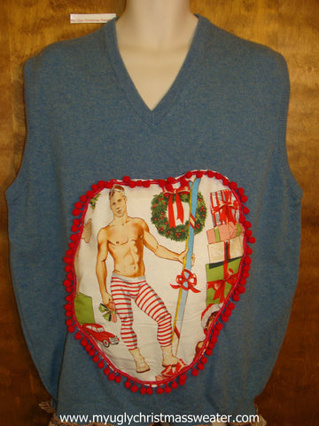 Hottie Guy Mens Ugly Christmas Sweater Vest Ski Gift