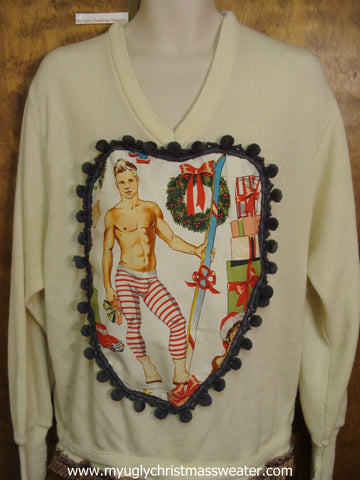 Hottie Guy Mens Ugly Christmas Sweater Festive Jammies