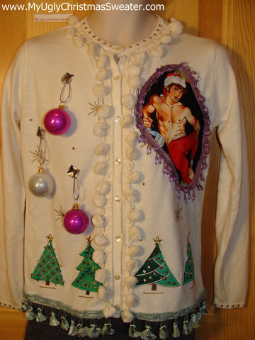 Hottie Guy Tacky Ugly Christmas Sweater Dangling Fringe & 3D Ornaments (b9)