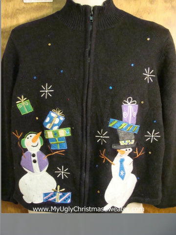 Happy Juggling Snowmen Funny Christmas Sweater