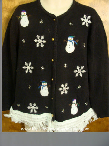 Snowman and Snowflake Accents Cute Christmas Sweater