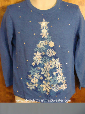 Blue Novelty Funny Christmas Sweater with Snowflake Tree