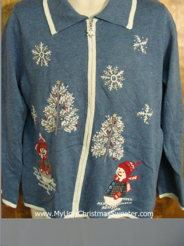Cute Blue Novelty Funny Christmas Sweater