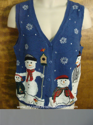 Holiday Snowman Love Ugly Christmas Sweater Vest
