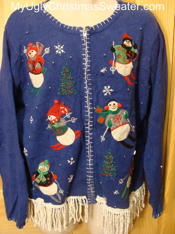 Ugly Christmas Sweater with Skiing Snowmen