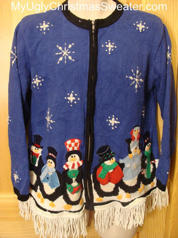 Ugly Christmas Sweater Caroling Pengins