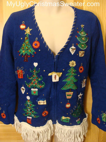 Ugly Christmas Sweater with Bling and Trees