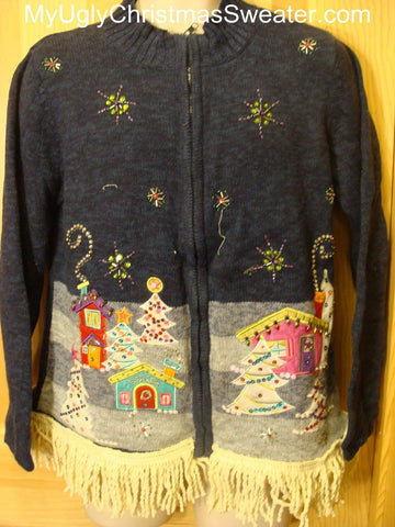 Ugly Christmas Sweater Bling Winter Town