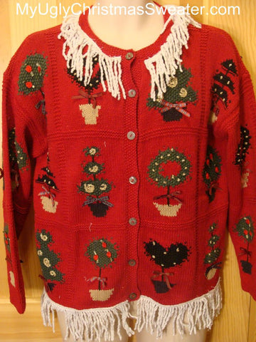 Ugly Christmas Sweater 2-sided Front and Back with Fringe
