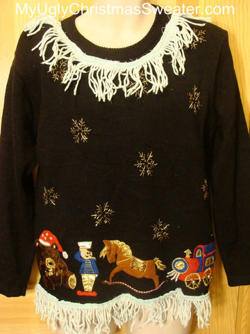 Ugly Christmas Sweater Snowflakes Bear Rocking Horse