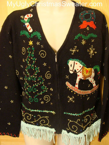 Ugly Christmas Sweater with BLING Tree and a Rocking Horse