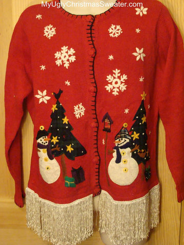 Ugly Christmas Sweater with LONG Fringe