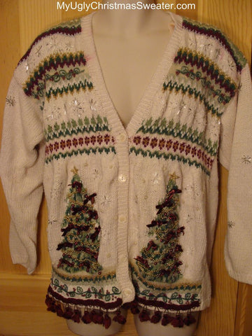 Ugly Christmas Sweater Cardigan with Trees and Tassel Fringe
