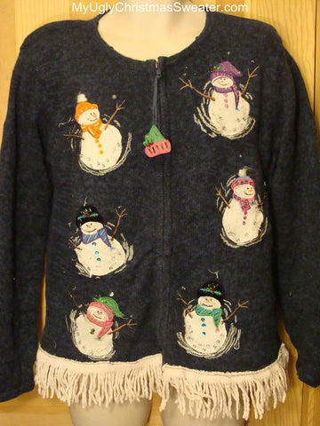 Ugly Christmas Sweater with Tipsy Snowmen