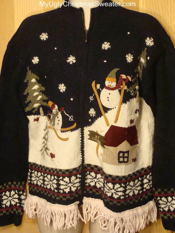 Ugly Christmas Sweater 2-sided Skiing Snowmen