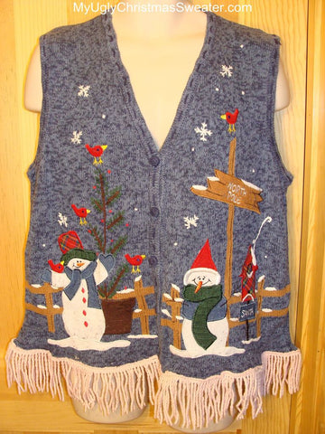Ugly Christmas Sweater Vest with Festive Snowmen