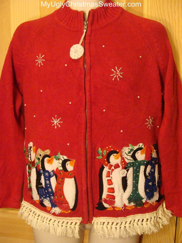 Ugly Christmas Sweater with Penguins and Fringe