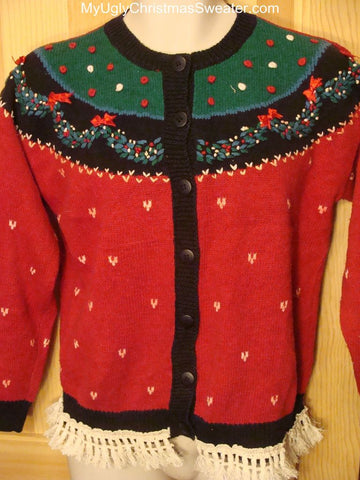 Ugly Red Christmas Sweater Cardigan