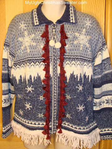 Ugly Christmas Sweater Nordic Pattern Tassle and Dangling Fringe