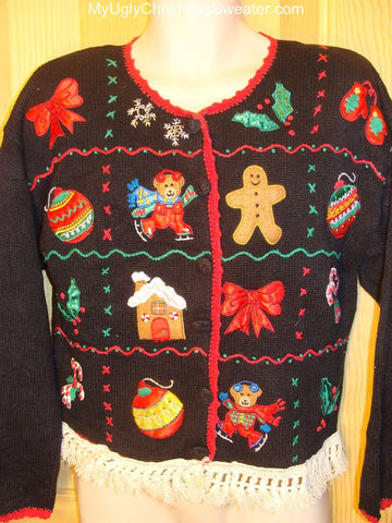 Ugly Christmas Sweater with Busy Tacky Decorations