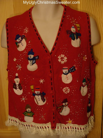 Ugly Christmas Sweater Vest with Snowmen