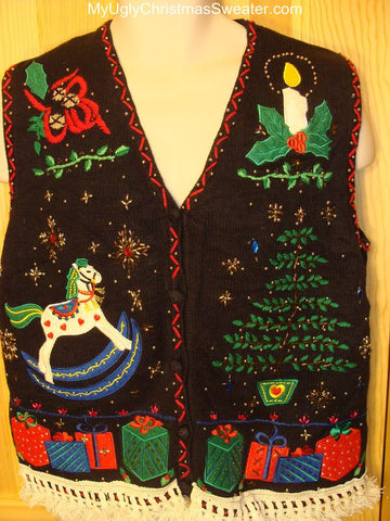 Ugly Christmas Sweater with Rocking Horse, Tree, and Presents