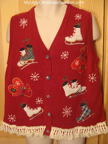 Ugly Christmas Sweater Vest with Ice Skates