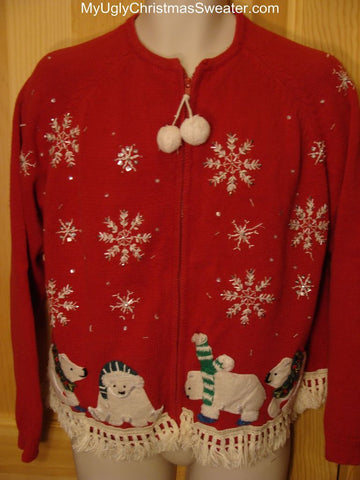 Ugly Red Christmas Sweater with Polar Bears