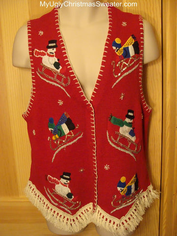 Ugly Christmas Sweater Vest with Sledding Snowmen
