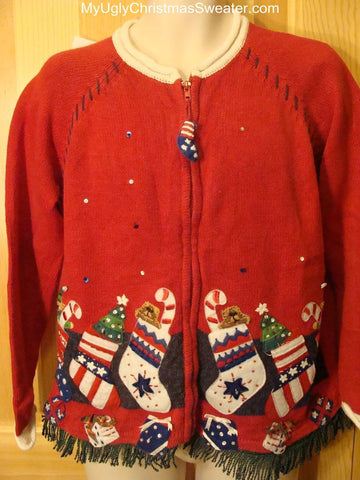 Ugly Red Christmas Sweater with Patriotic Stockings