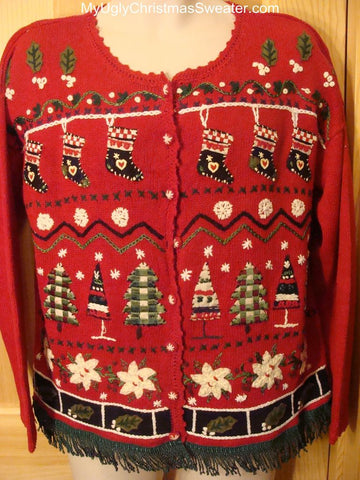 Ugly Red Christmas Sweater with Stockings and Trees