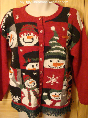 Ugly Christmas Sweater with Peaking Snowmen
