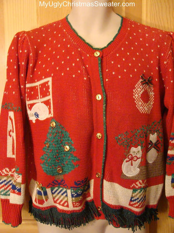 Ugly Christmas Sweater 80s Retro with Puffy Shoulders