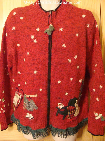 Ugly Christmas Sweater 2-sided Front & Back Snowmen