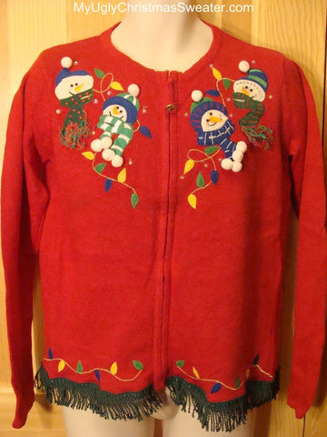 Ugly Christmas Sweater with Snowman Heads and Strings of (fake) bulbs