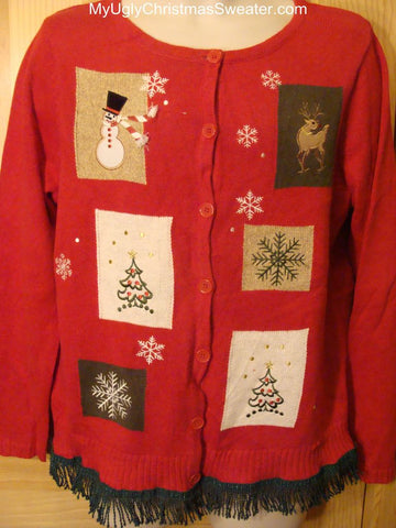 Ugly Christmas Red Sweater with a Snowman, Reindeer, and Trees