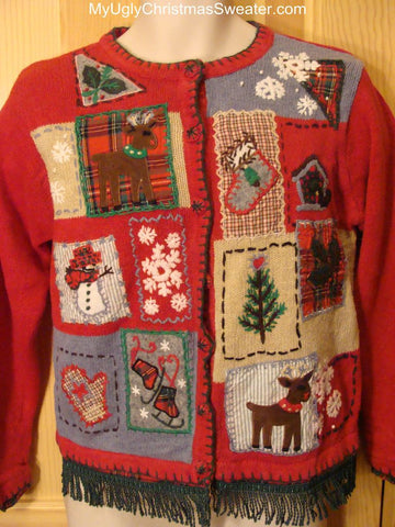 Ugly Red Christmas Sweater with Tacky Festive Reindeer, Tree, Stocking and More!