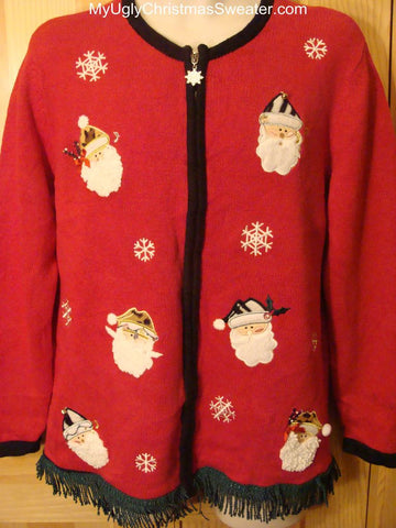 Ugly Christmas Sweater with Topsy Santa Heads