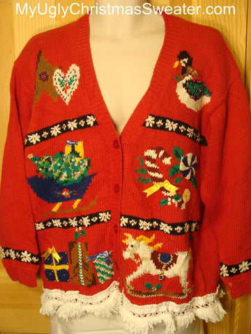 Ugly Christmas Sweater with Rocking Horse, Goose, and a Toppled Tree