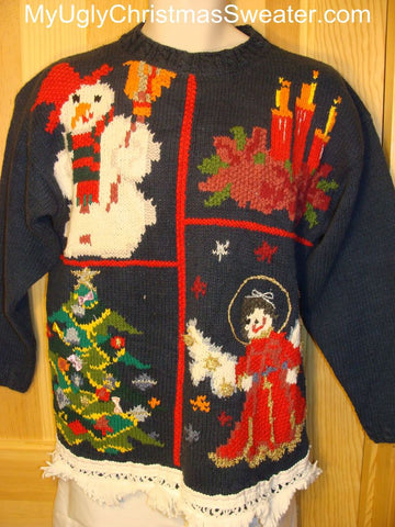 Ugly Christmas Sweater with Snowman, Candles, Angels, Tree